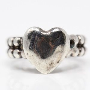 VINTAGE Sterling Silver Double Beaded Heart Ring 4